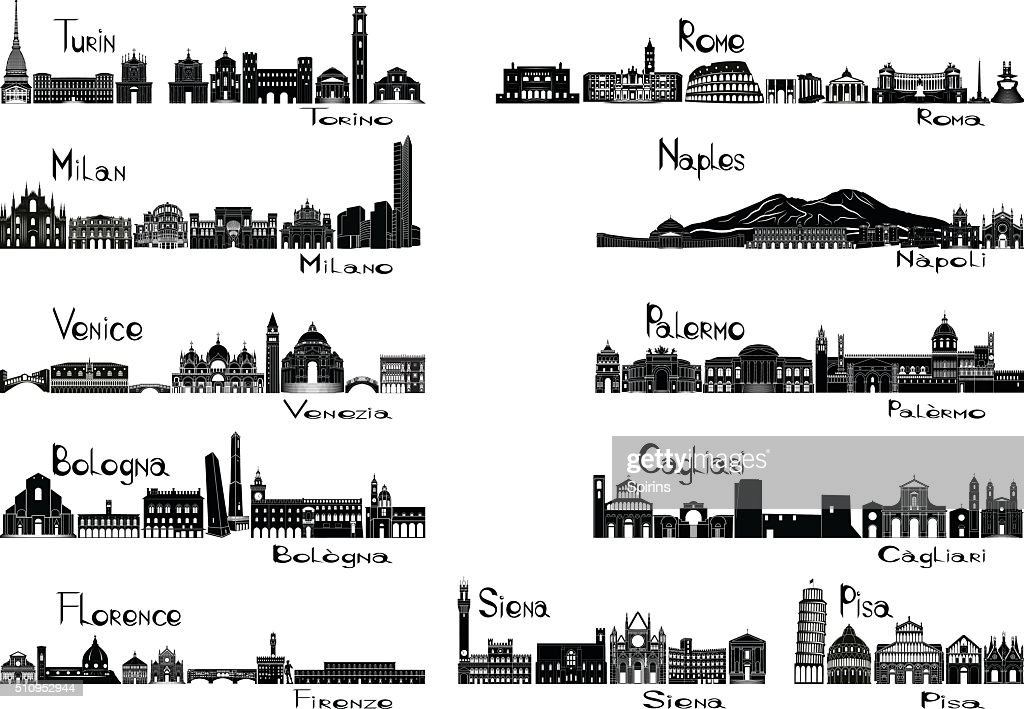 Silhouette signts of eleven cities of Italy