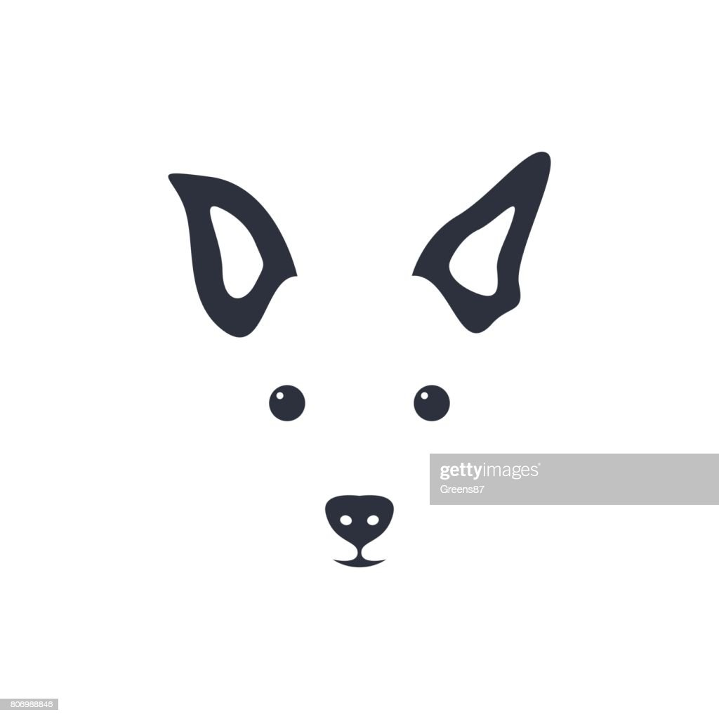 Silhouette simple head dog. Vector illustration.