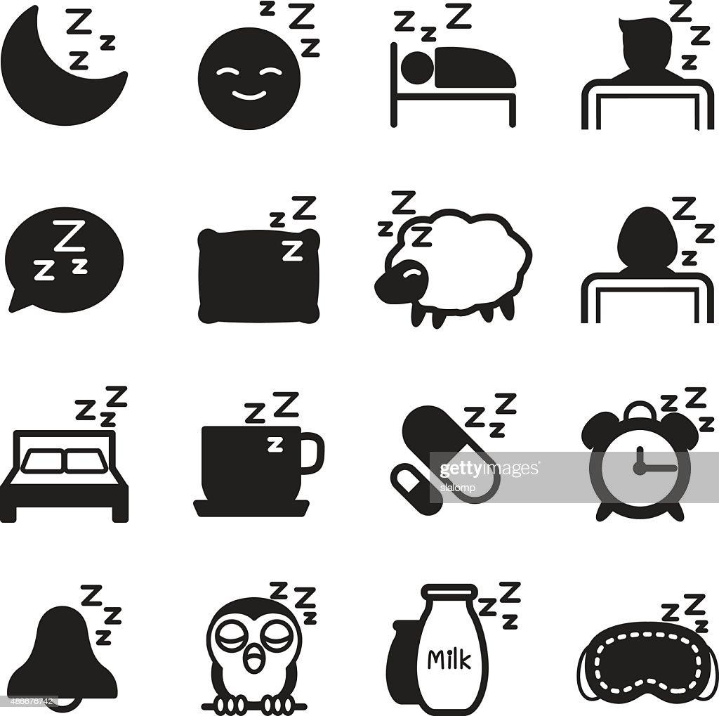 Silhouette Sleep  icons Set