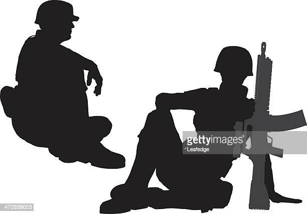 silhouette soldier[sit down] - sniper stock illustrations, clip art, cartoons, & icons