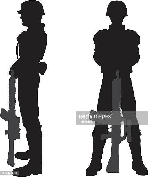 silhouette soldier[standing] - sniper stock illustrations, clip art, cartoons, & icons
