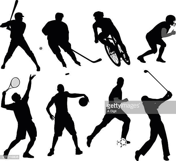 silhouette sport variety - sport stock illustrations