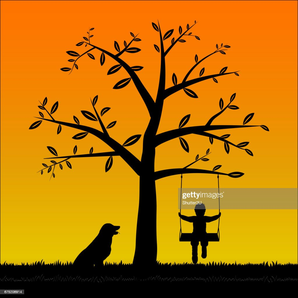 Silhouette Tree and The boy on the swing and his dog