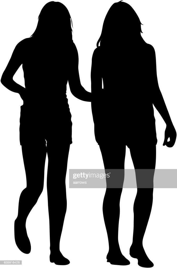 Silhouette two lesbian girls hand to hand isolated