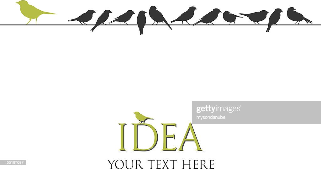 Silhouette vector illustration of birds on a wire