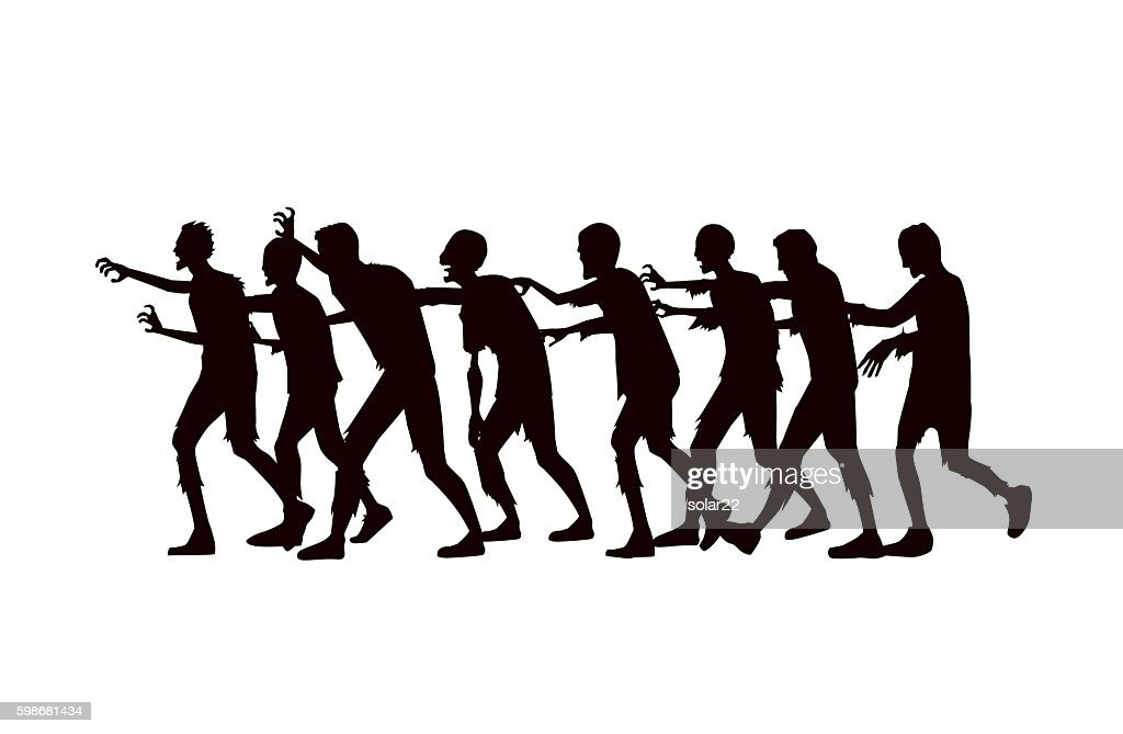 Silhouette vector zombie group walking.