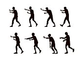 Silhouette Vector zombie walking.