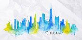 Silhouette watercolor Chicago