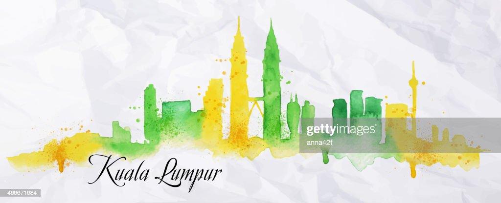 Silhouette watercolor Kuala Lumpur