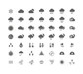 Silhouette weather icons set. Isolated on white background.
