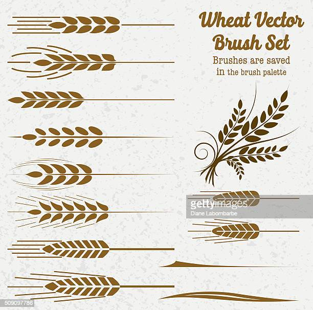 silhouette wheat brushes - whole stock illustrations, clip art, cartoons, & icons