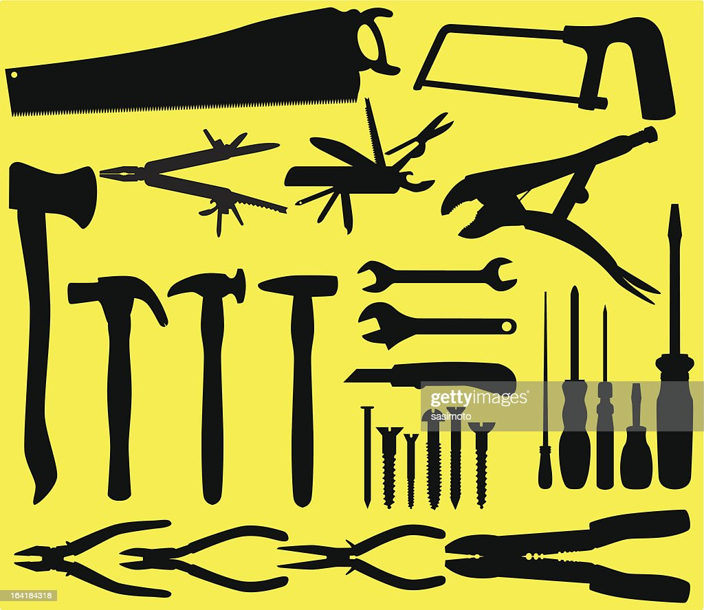 Silhouette : Working Tools/ equipment on yellow background Set #4