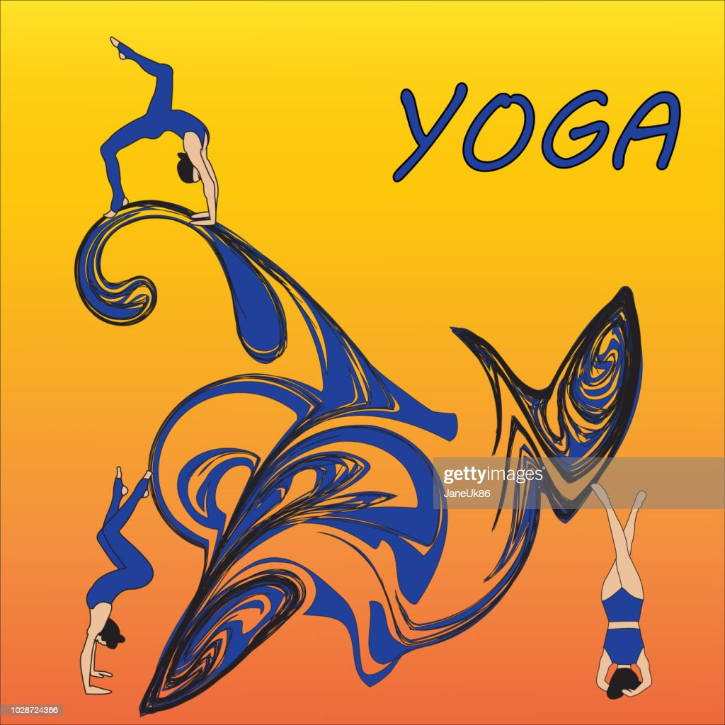 Silhouette young woman practicing yoga. Girl pilates. Vector on abstract background icon