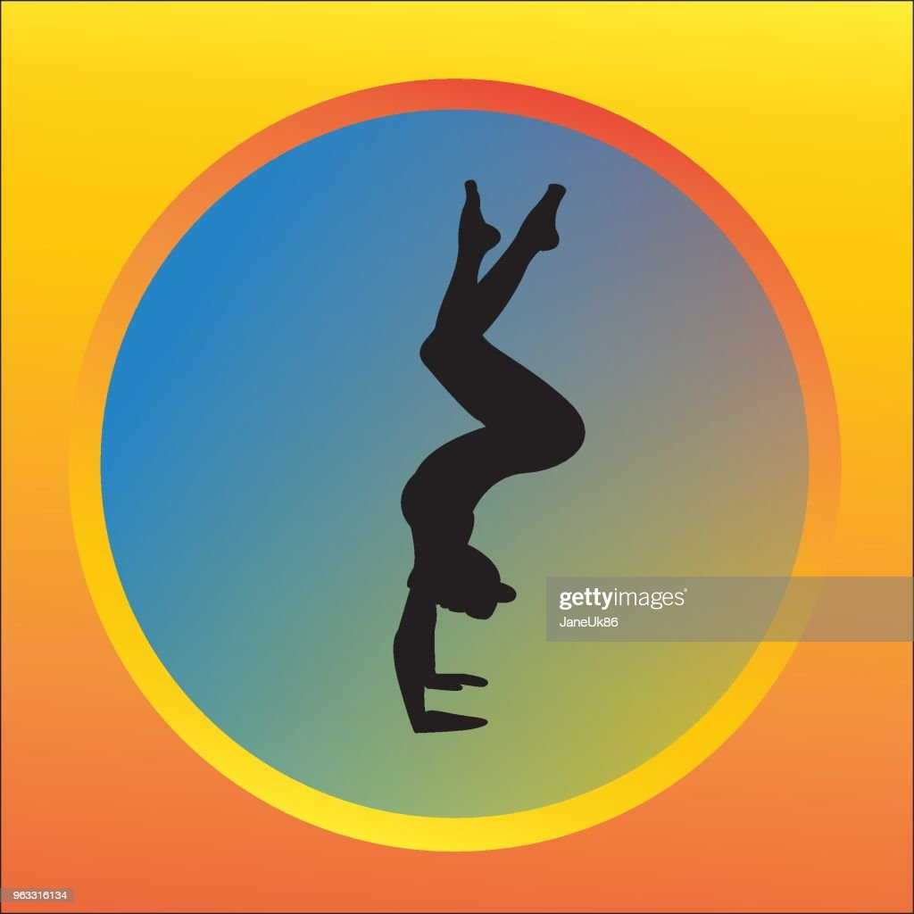 Silhouette young woman practicing yoga. Girl pilates. Vector on abstract background lotus icon