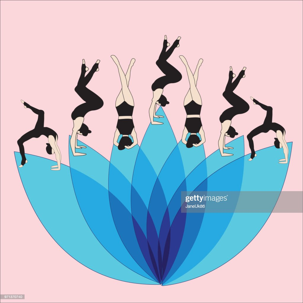 Silhouette young woman practicing yoga. Girl pilates. Vector on abstract background lotus