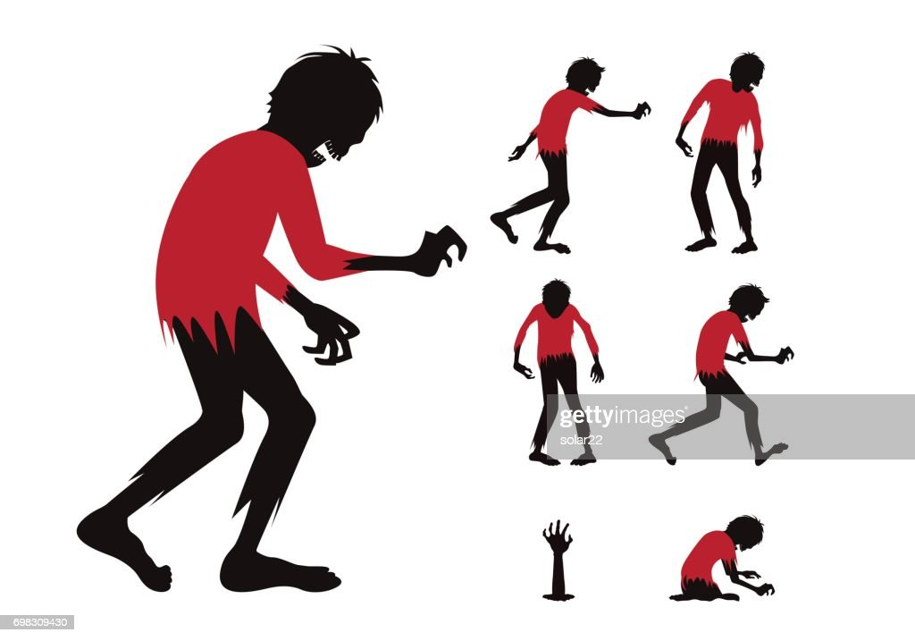 Silhouette zombie with red shirt full body difference action in collection