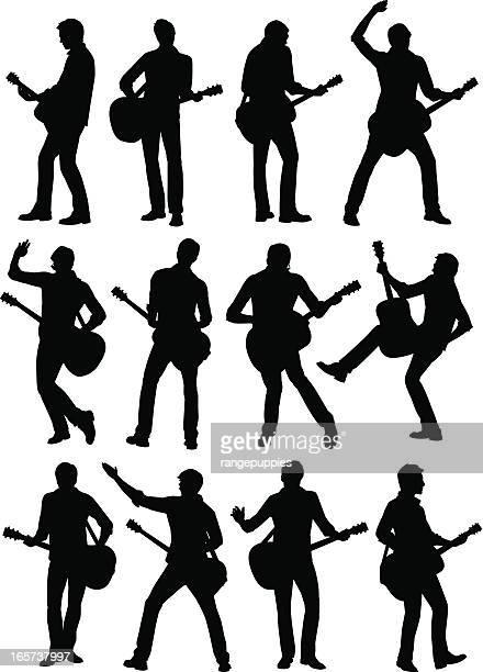ilustraciones, imágenes clip art, dibujos animados e iconos de stock de guitarra hombre - puntear un instrumento