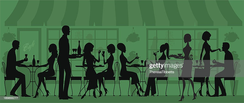 Silhouetted Restaurant People