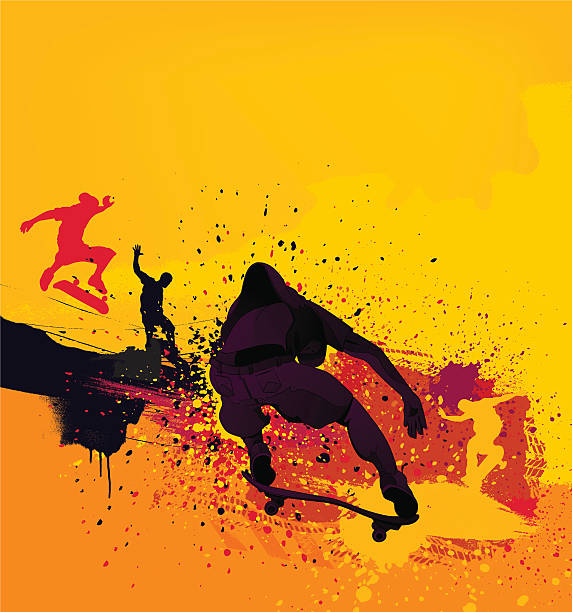 silhouetted skateboarders on yellow paint splash background - skateboarding stock illustrations