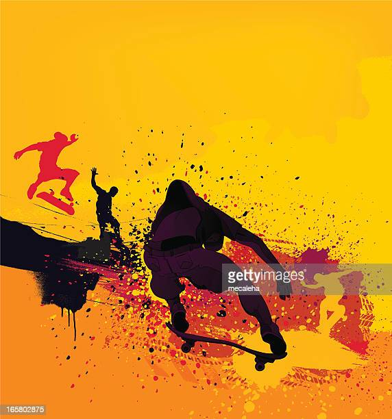 Silhouetted skateboarders on yellow paint splash background