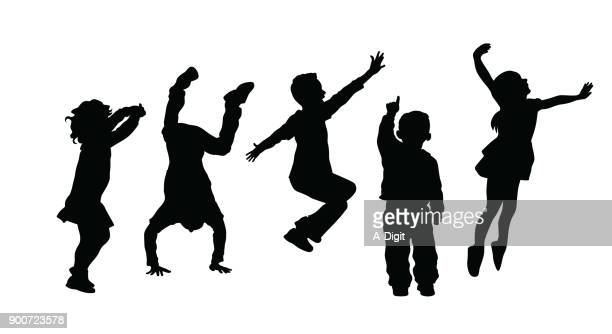 silhouetteofhighenergyactivekids - child stock illustrations