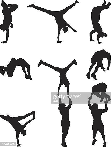 ilustraciones, imágenes clip art, dibujos animados e iconos de stock de siluetas de break dancing y cara - baile moderno