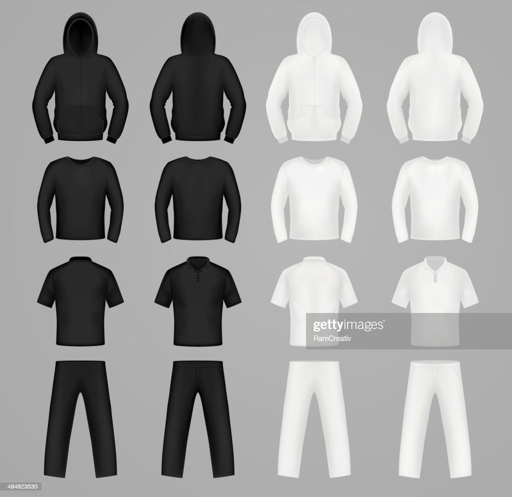 Silhouettes clothes black and white colors, hoodie, t-shirt and