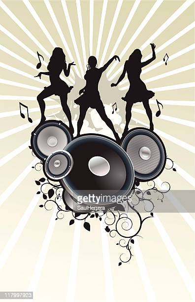 silhouettes dancing in audio speakers - cumbia stock illustrations, clip art, cartoons, & icons
