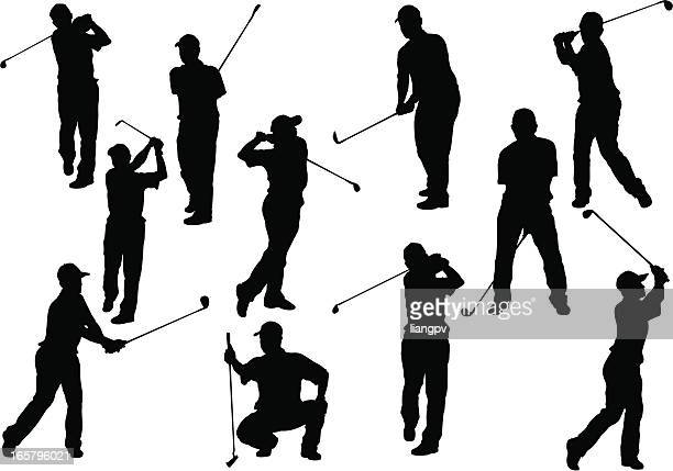 silhouettes depicting a golfer that is in many positions  - golf swing stock illustrations, clip art, cartoons, & icons