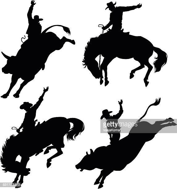 silhouettes depicting rodeo - cowboy stock illustrations, clip art, cartoons, & icons