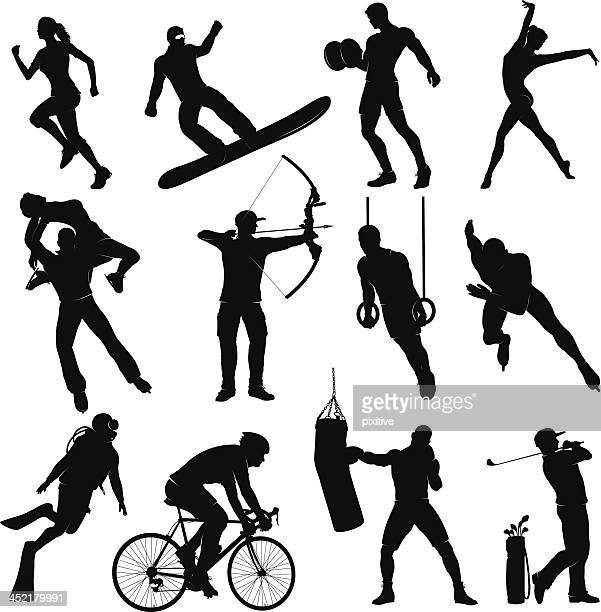 silhouettes doing several different sports - weight training stock illustrations