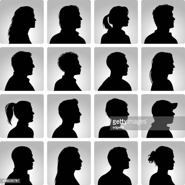 silhouettes heads set - side view stock illustrations
