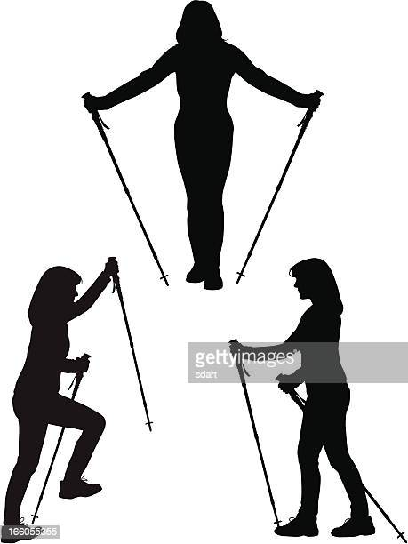 Silhouettes of a female hiker in different poses