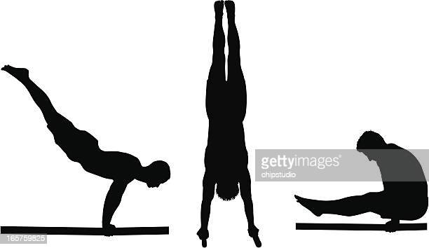 Silhouettes of a male gymnast on the parallel bars
