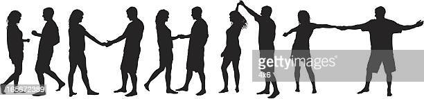 silhouettes of a man and woman dancing - salsa dancing stock illustrations, clip art, cartoons, & icons