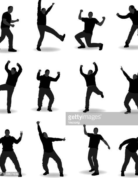 Silhouettes of a man doing various poses