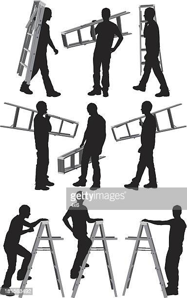Silhouettes of a men with ladder