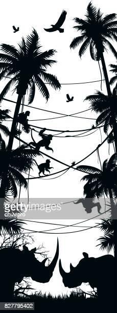 silhouettes african wild animals nature habitats
