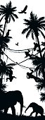 Silhouettes of African wild animals in nature habitats