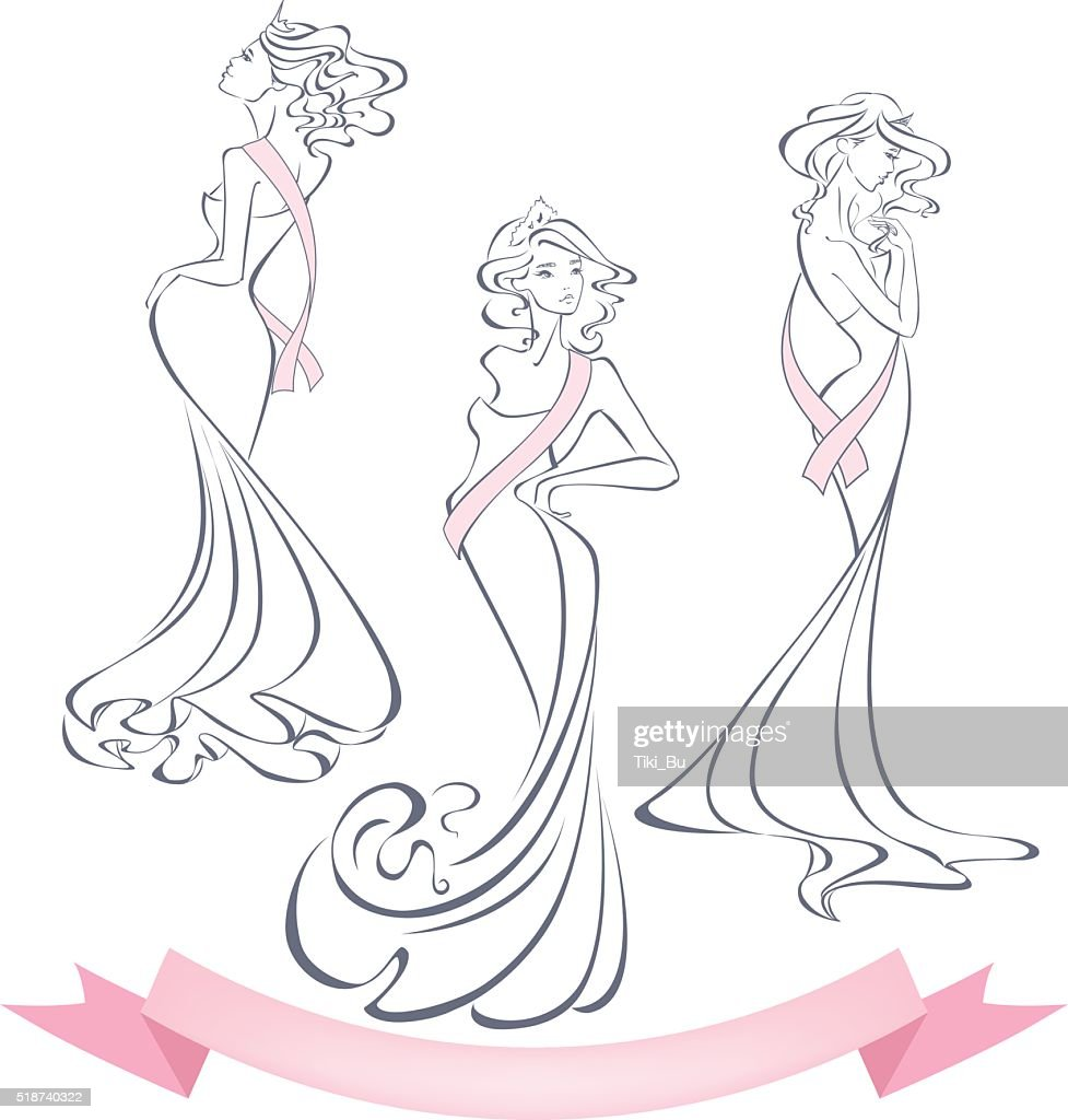 Silhouettes of beautiful girls in evening dresses with premium ribbons.