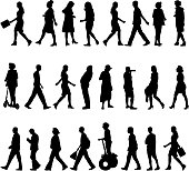 silhouettes of beautiful mans and womans