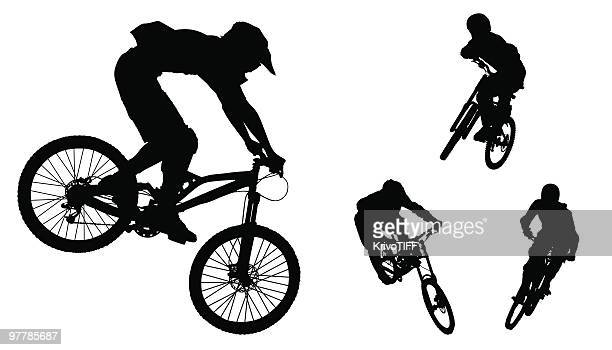 silhouettes of bikers - mountain bike stock illustrations