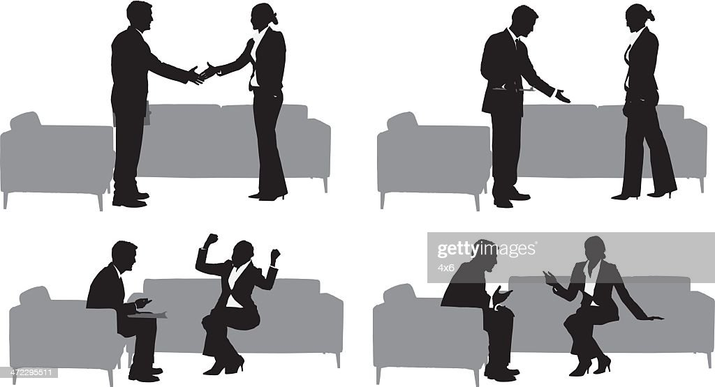 Silhouettes of businessman and woman : stock illustration