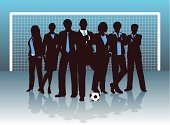 Silhouettes of businesspeople with a soccer ball and goal