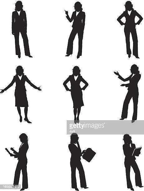 ilustrações, clipart, desenhos animados e ícones de silhuetas de businesswomen - mão no quadril