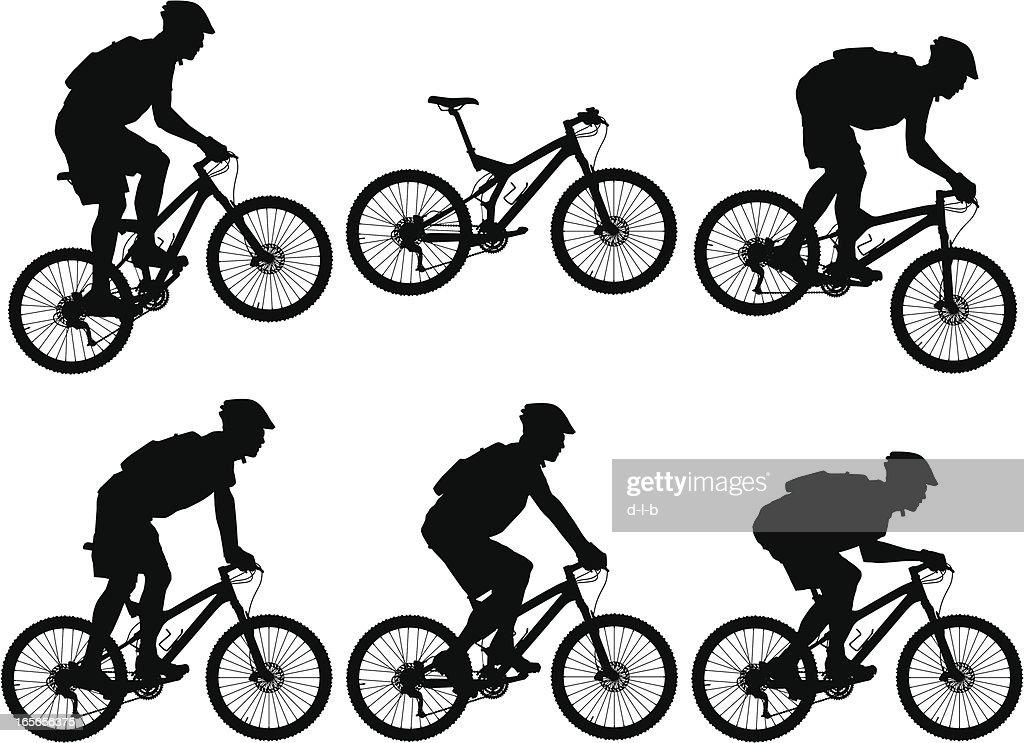 Silhouettes of carbon fiber full suspension mountain bike for Suspension noir et blanc