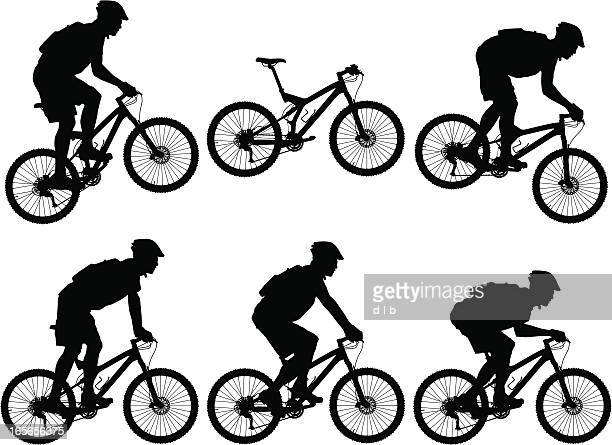 silhouettes of carbon fiber full suspension mountain bike with cyclists - mountain bike stock illustrations