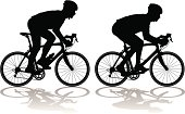 Silhouettes of carbon fiber racing bicycles with cyclists