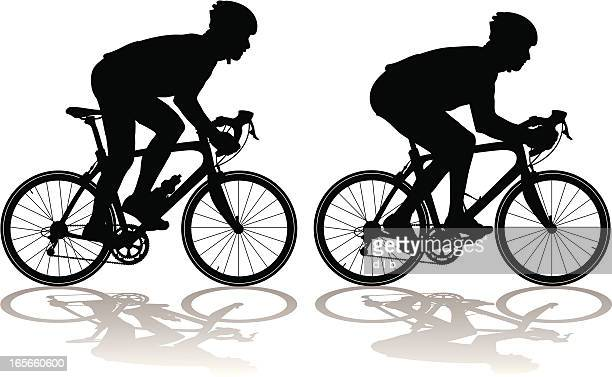 silhouettes of carbon fiber racing bicycles with cyclists - bicycle stock illustrations