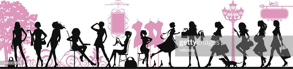 Silhouettes of cartoon woman against a pink background